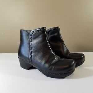 Dansko Black Leather Ankle Boots